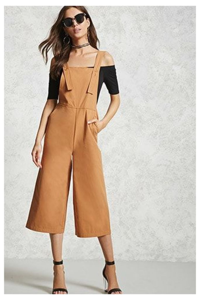 Cropped Wide-Leg Dungarees