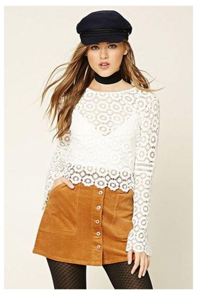 Corduroy Button-Down Mini Skirt