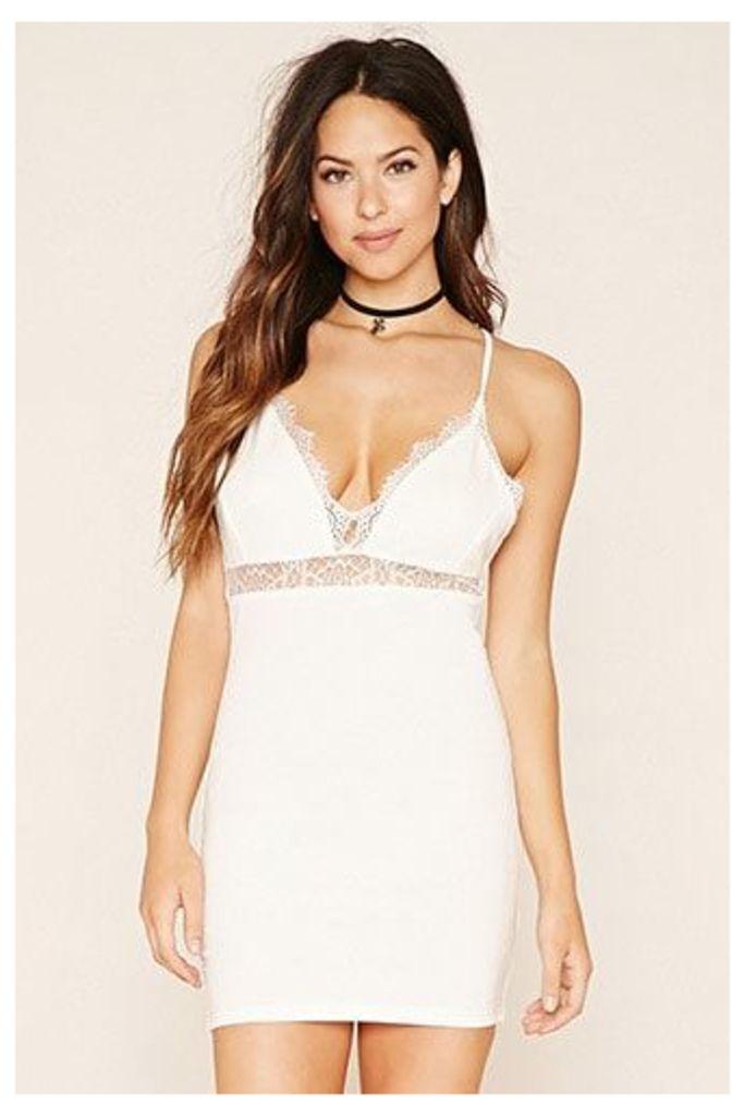 Eyelash Lace-Trimmed Dress