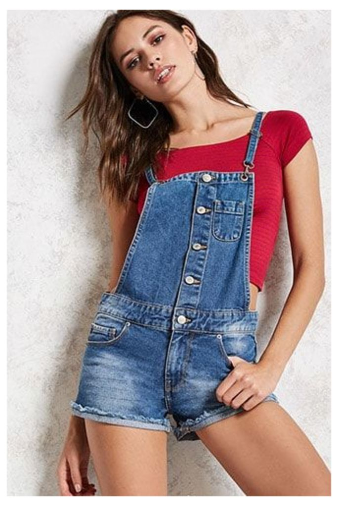 Button-Front Dungareesl Shorts