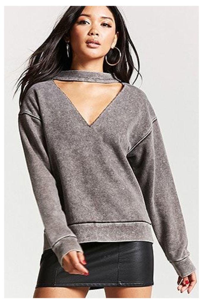 Oil Wash Choker Sweatshirt