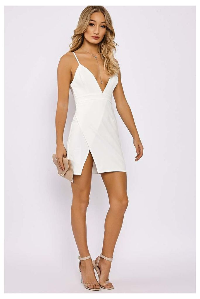 White Dresses - Amberlee White Strappy Plunge Split Side Dress