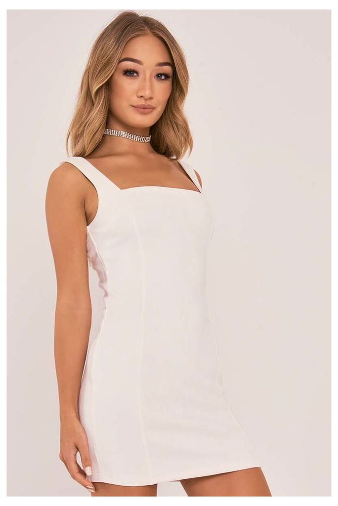 White Dresses - Charlotte Crosby Ivory Faux Suede Bodycon Dress