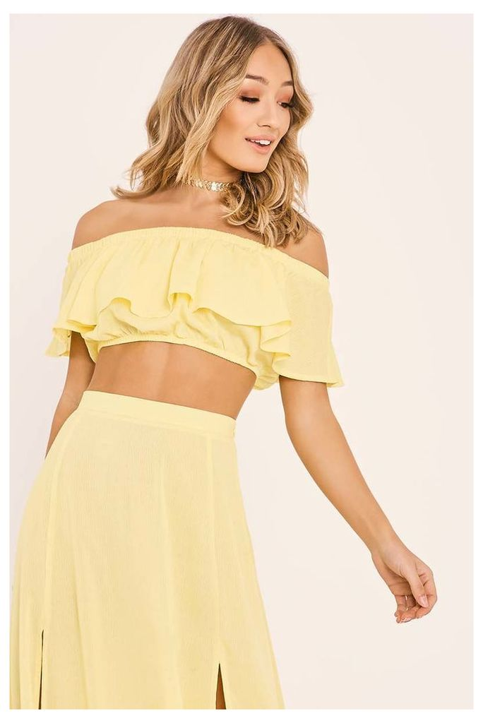 Yellow Tops - Billie Faiers Yellow Frill Crop Top