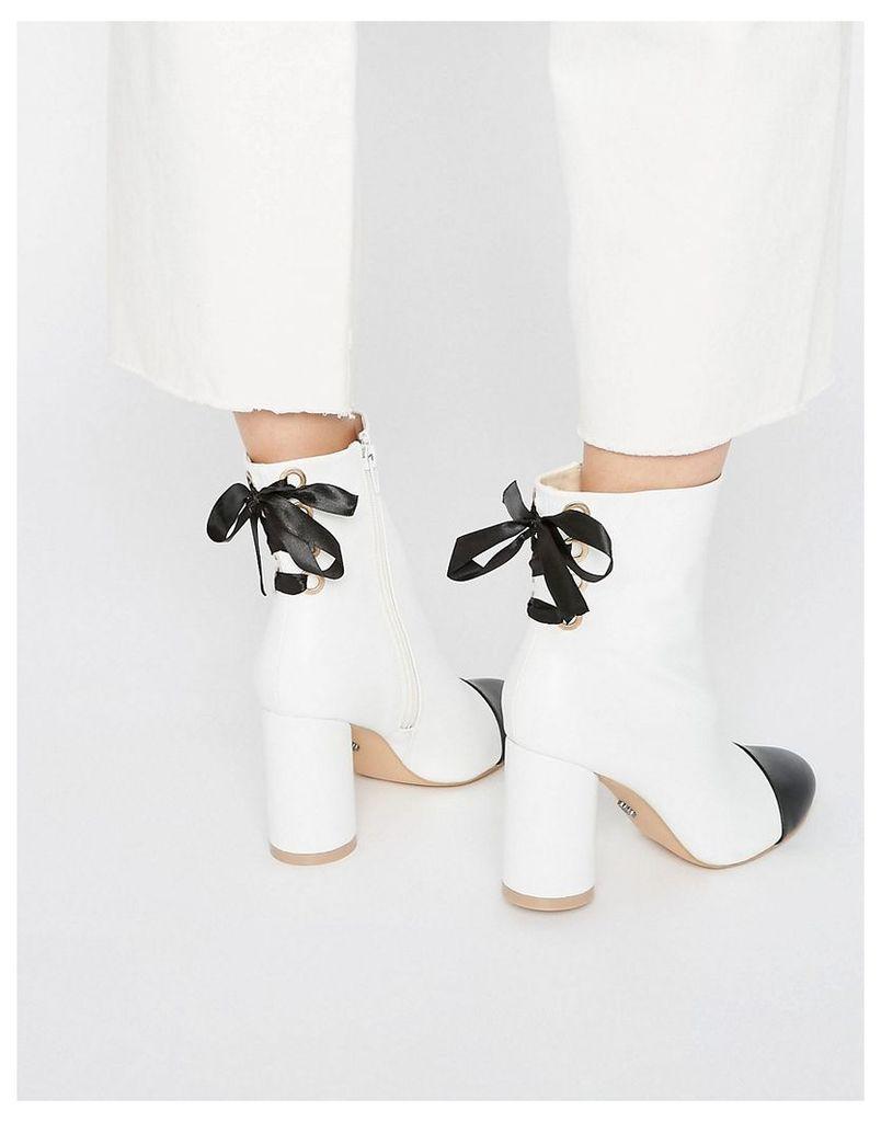 Daisy Street Toecap Tie Back Heeled Ankle Boots - White/black toecap
