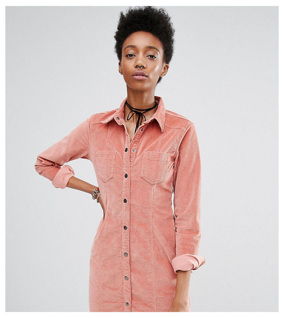 Glamorous Tall Pink Corduroy Button Front Dress - Pink