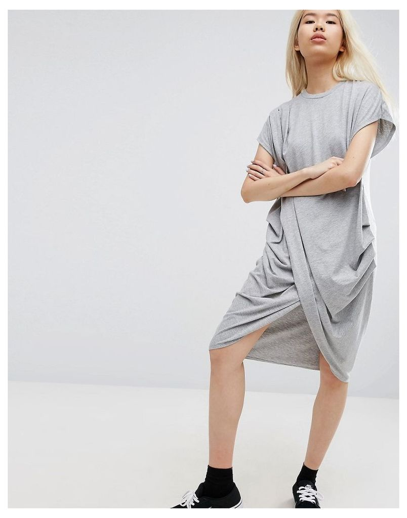 ASOS WHITE Cross Wrap Midi Dress - Grey