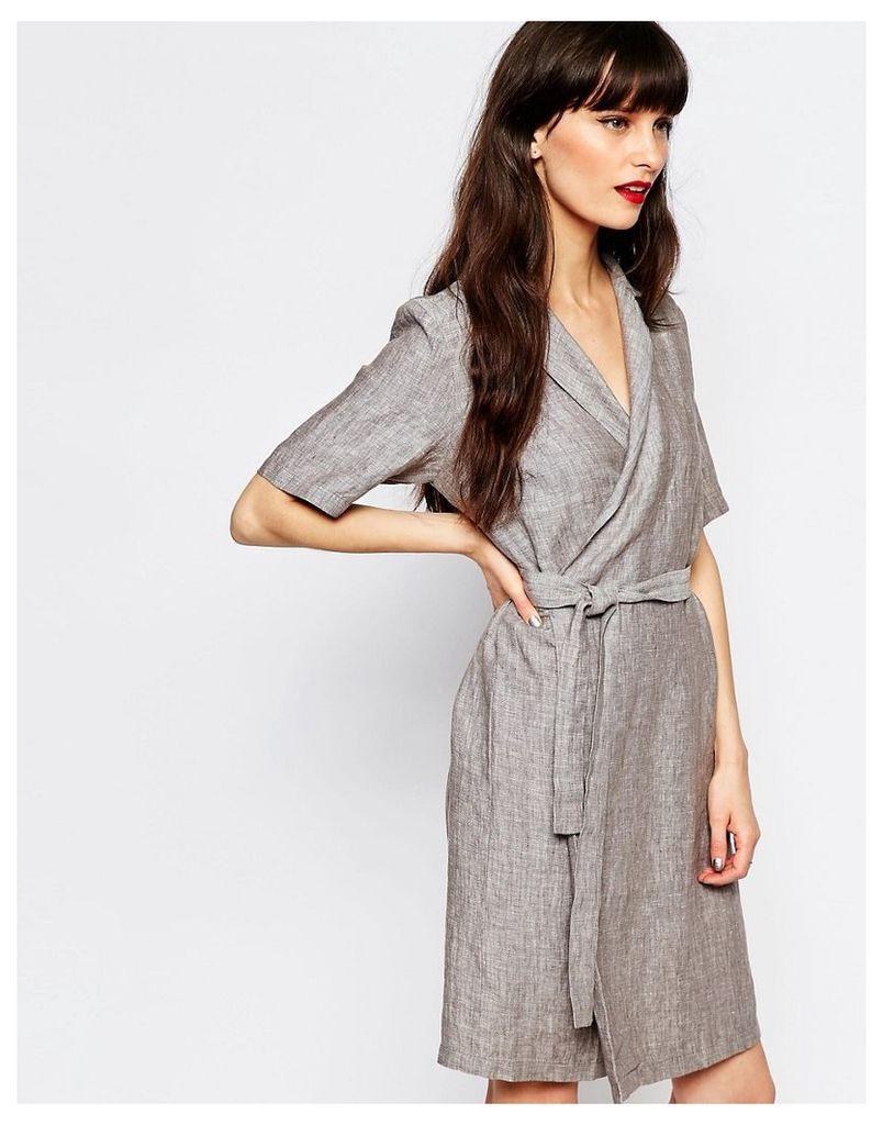 Just Female Genova Wrap Shirt Dress - Anthracite melange