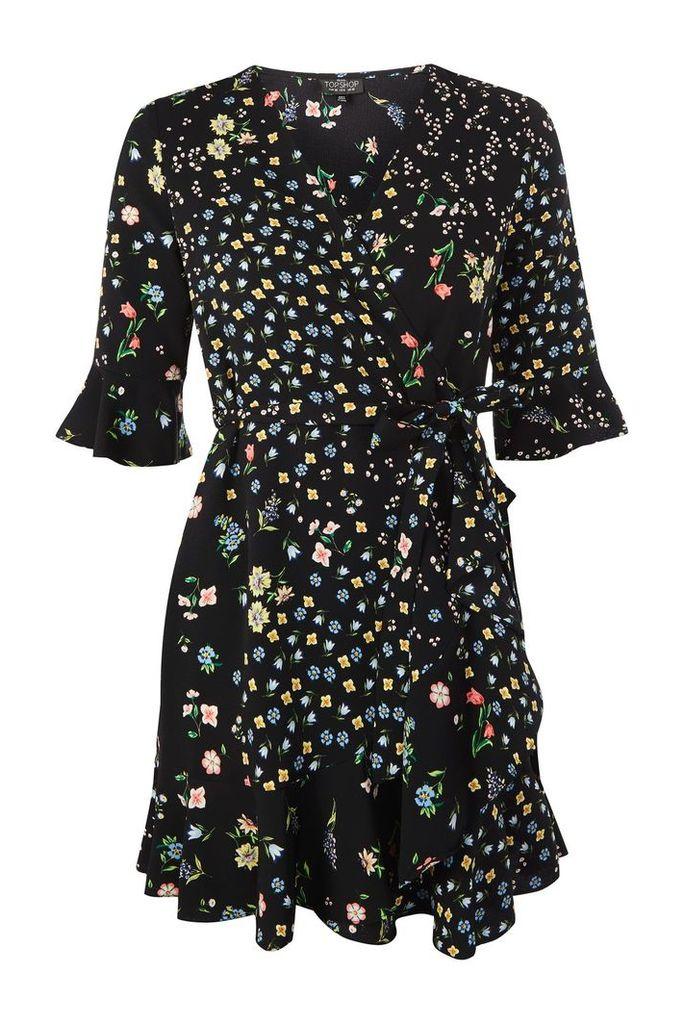 Womens PETITE Floral Print Tea Dress - Black, Black