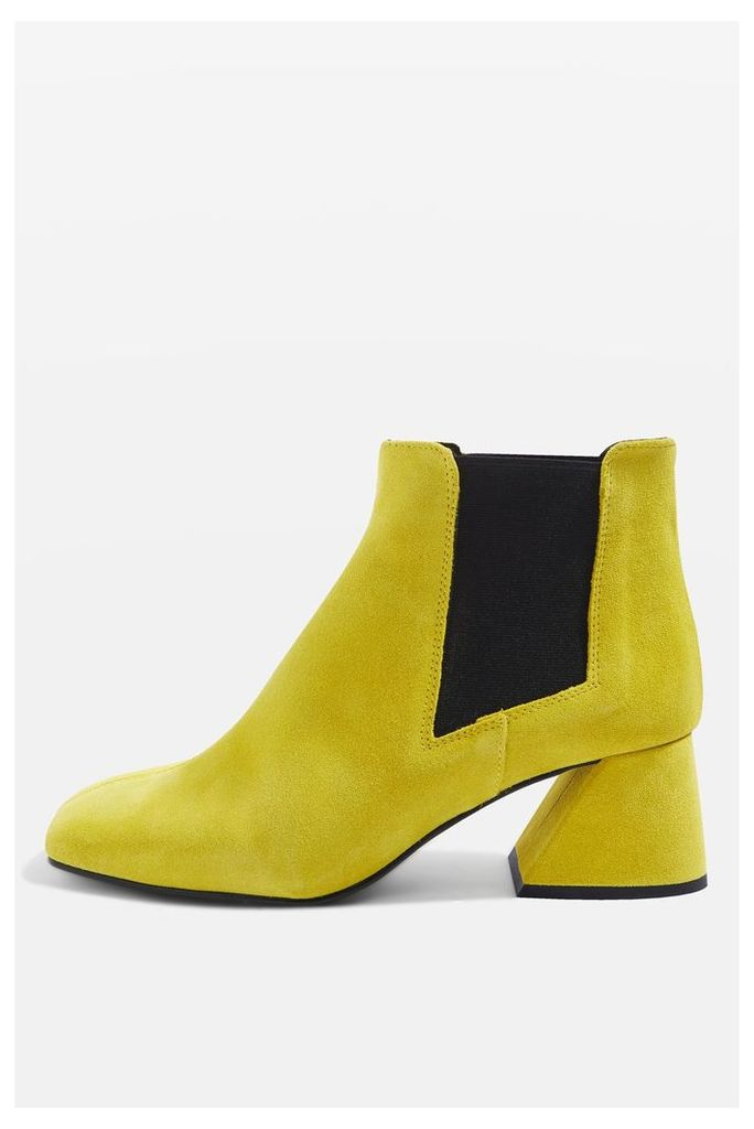 Womens MANUEL Patent Leather Boots - Yellow, Yellow