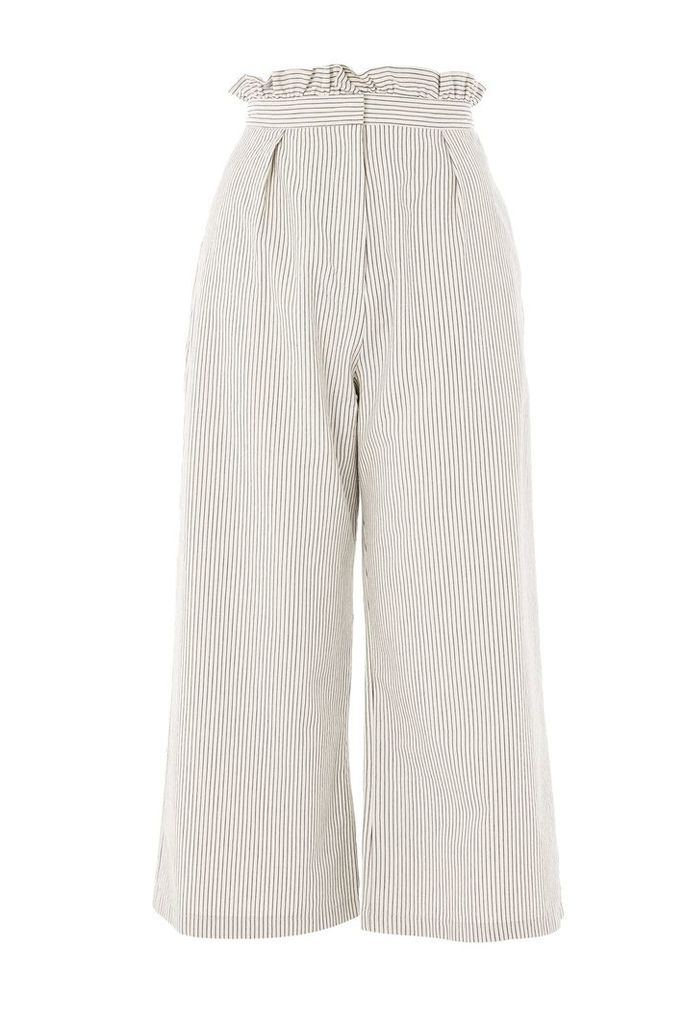 Womens PETITE Stripe Ruffle Wide Leg Trousers - Cream, Cream