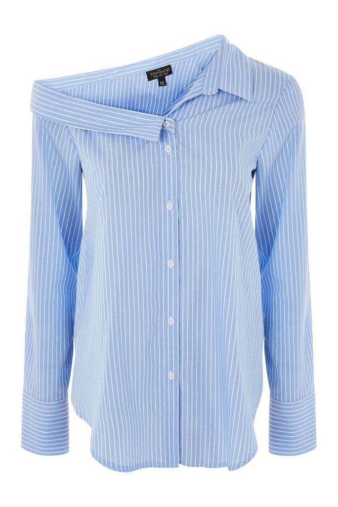 Womens TALL Stripe Off Shoulder Shirt - Blue, Blue