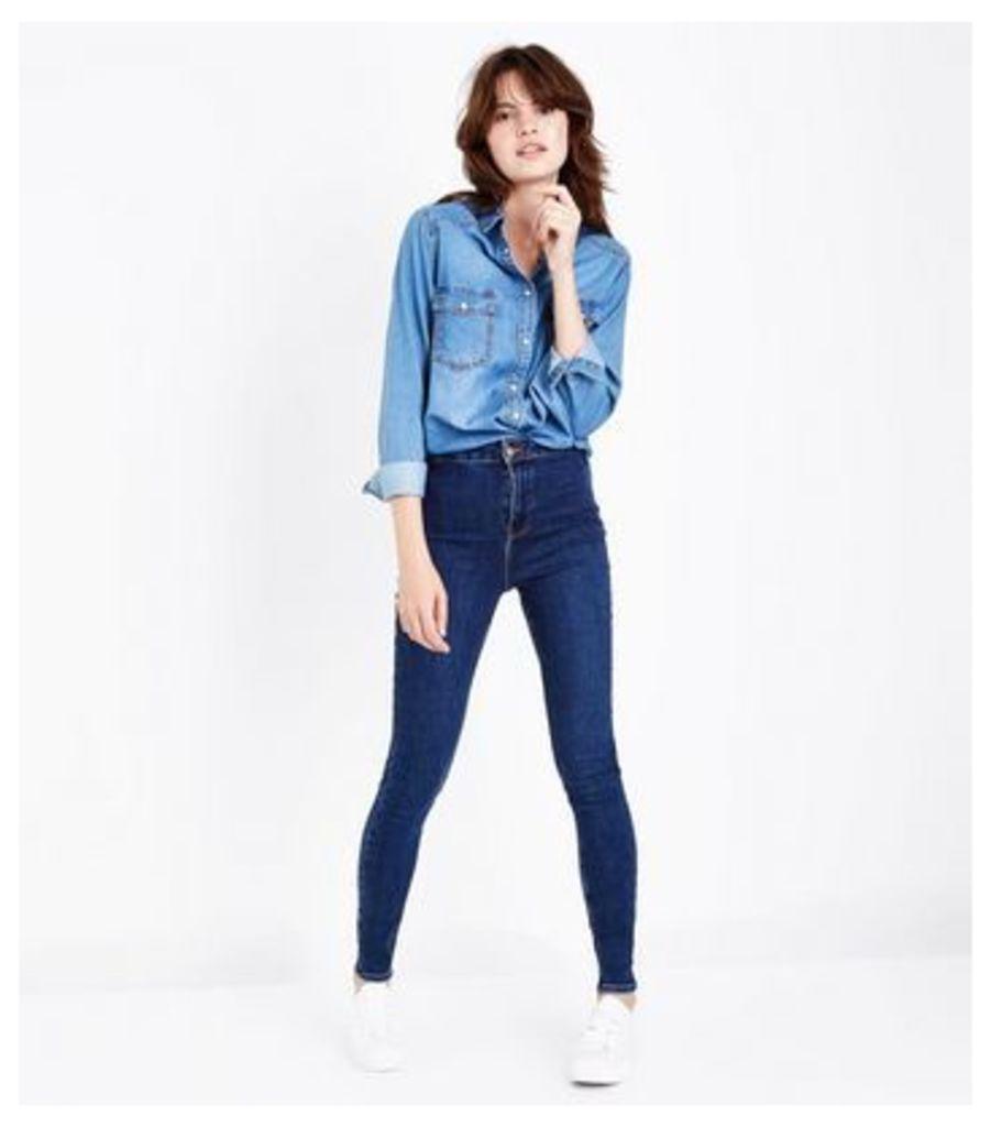 Navy High Waist Skinny Hallie Jeans New Look