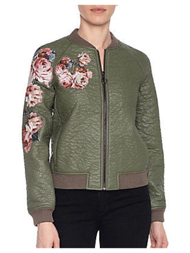 Forest Faux Leather Bomber Jacket