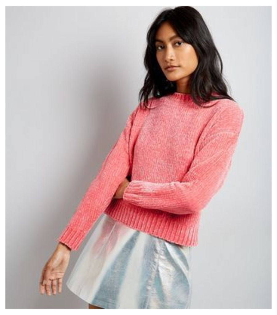 Pink Chenille Cropped Jumper New Look