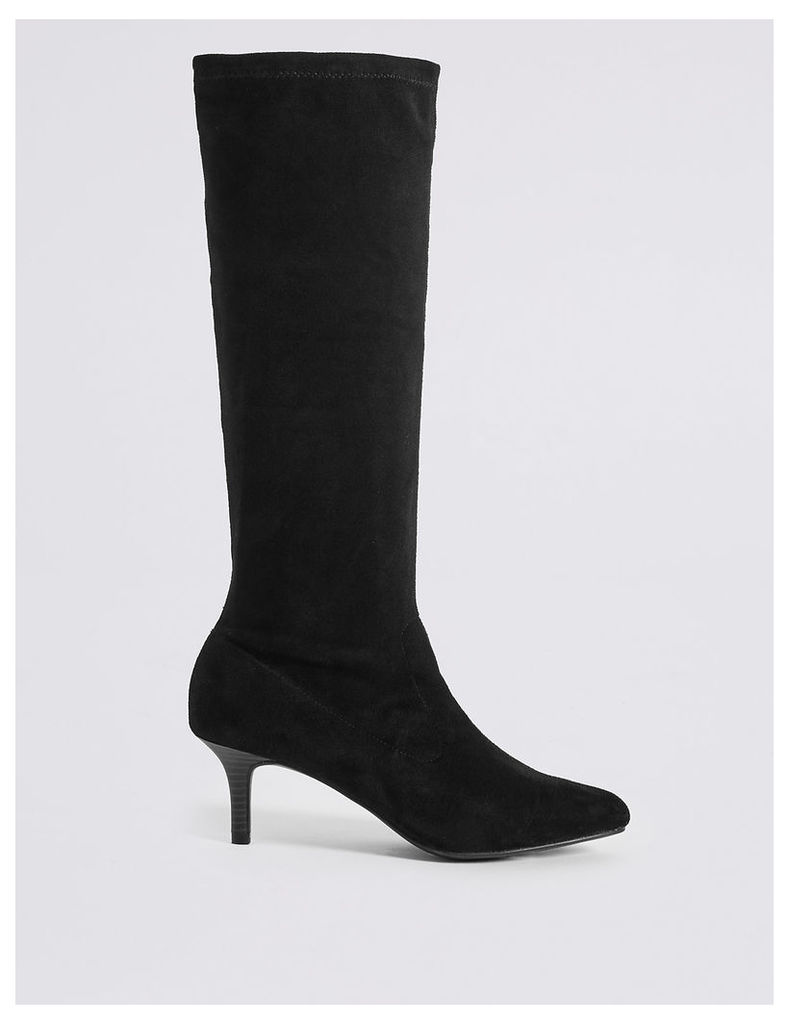 M&S Collection Kitten Heel Pointed Stretch Knee Boots