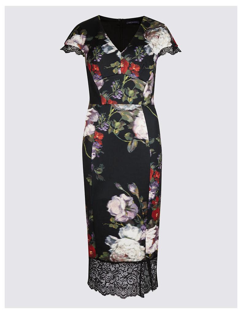 M&S Collection Floral Print Scuba Bodycon Midi Dress