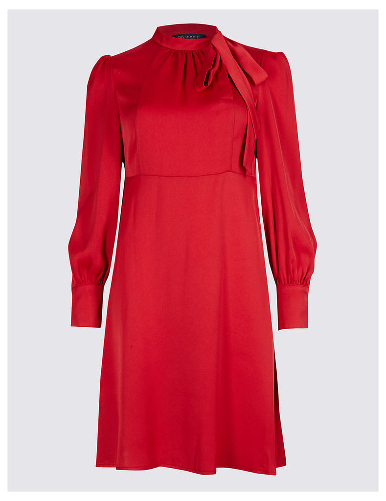 M&S Collection Tie Neck Long Sleeve Swing Midi Dress