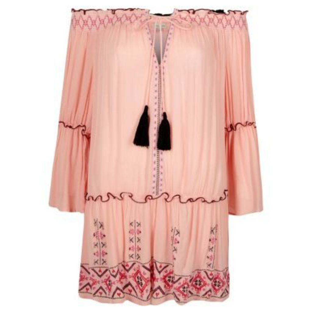 River Island Womens Light Pink embroidered bardot beach dress