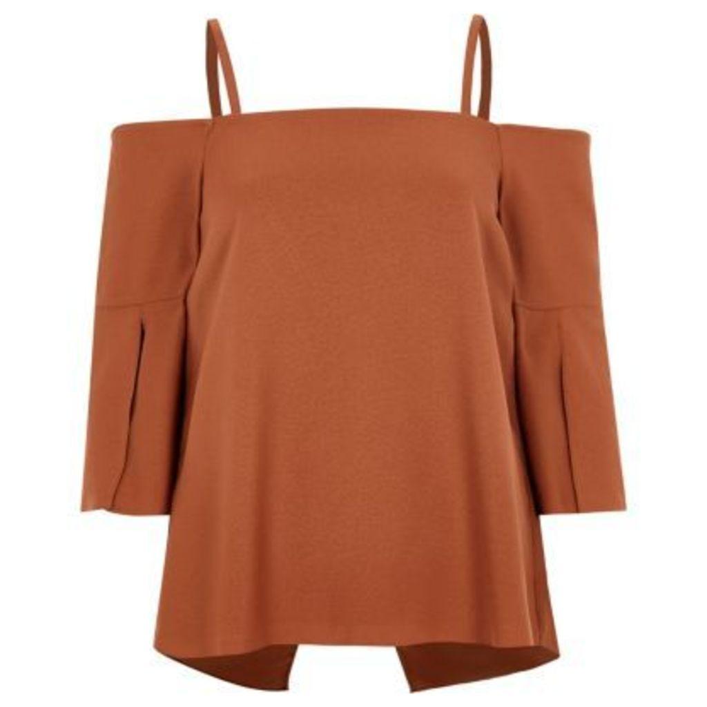River Island Womens Copper split sleeve bardot top