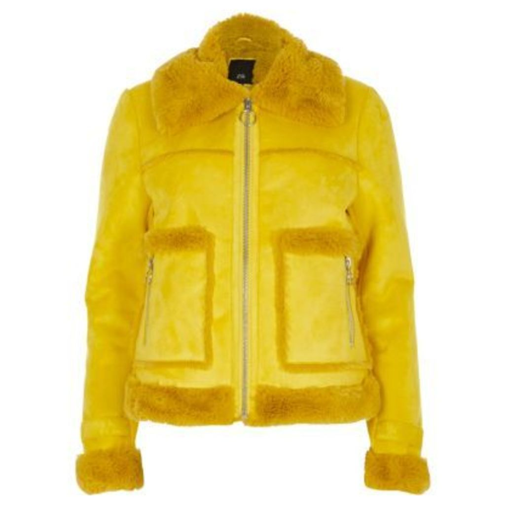 River Island Womens Yellow faux shearling trucker jacket