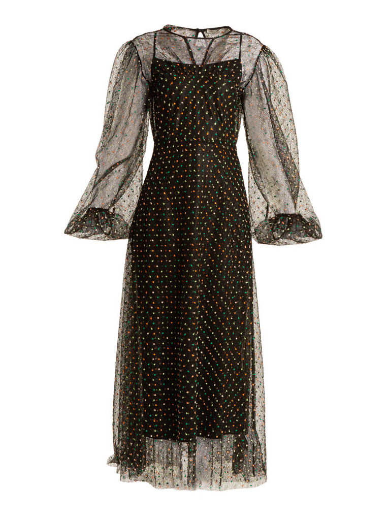 Camelita embroidered abstract-lace dress