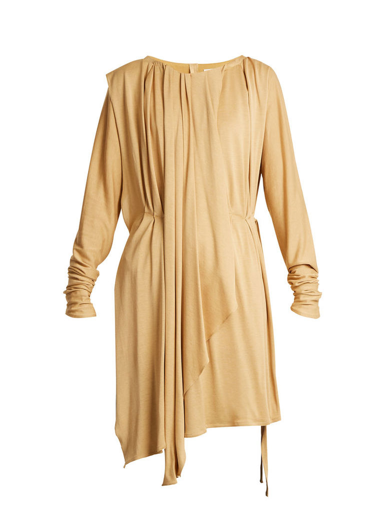 Layered long-sleeved pleated jersey top