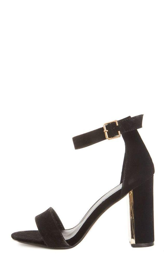 Olivia Black Suede Gold Trim Block Heeled Sandal, Black