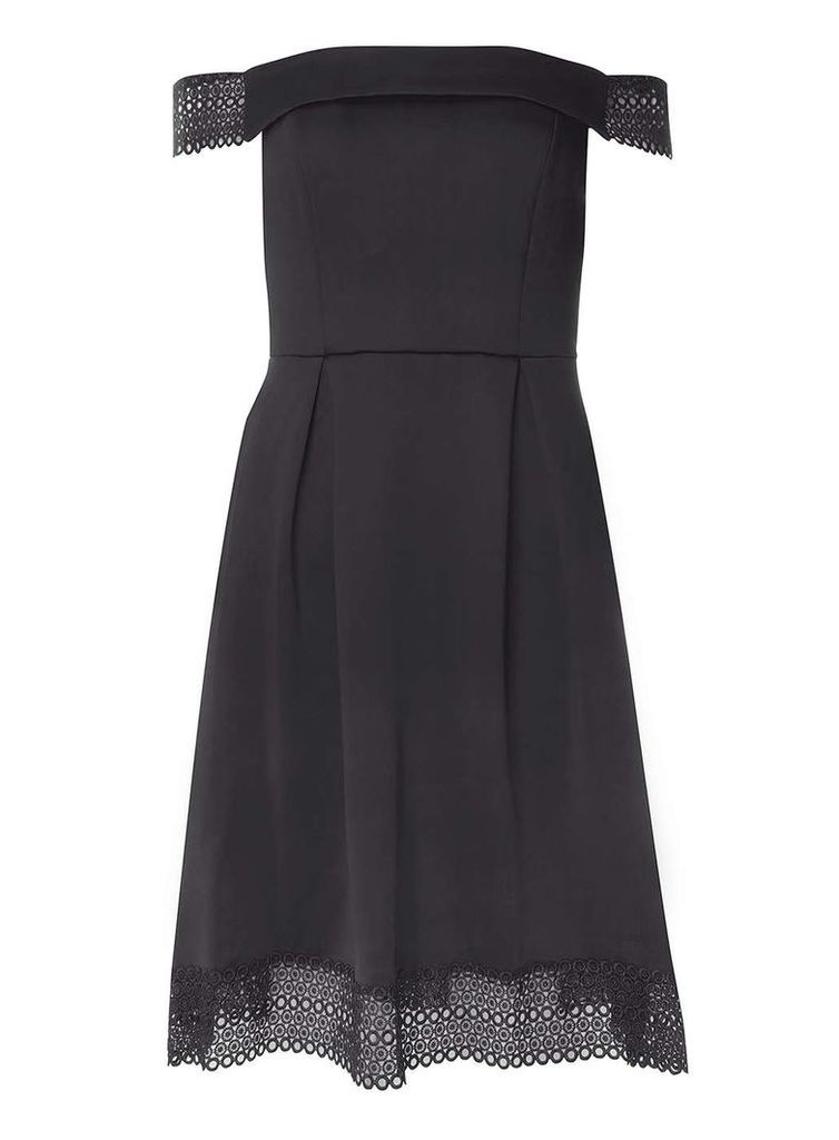 Womens Black Bardot Lace Fit & Flare Dress- Black