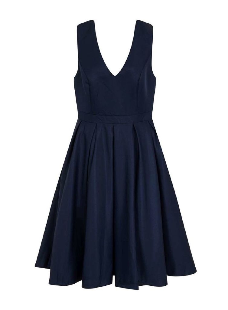 Womens *Chi Chi London Curve Navy Skater Dress- Navy
