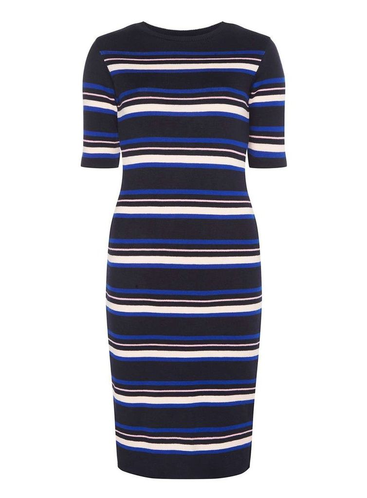 Womens Navy, Nude and Pink Stripe Midi Dress- Navy