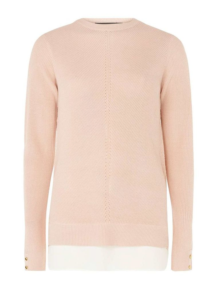 Womens **Tall Pink Chiffon 2-In-1 Jumper- Pink