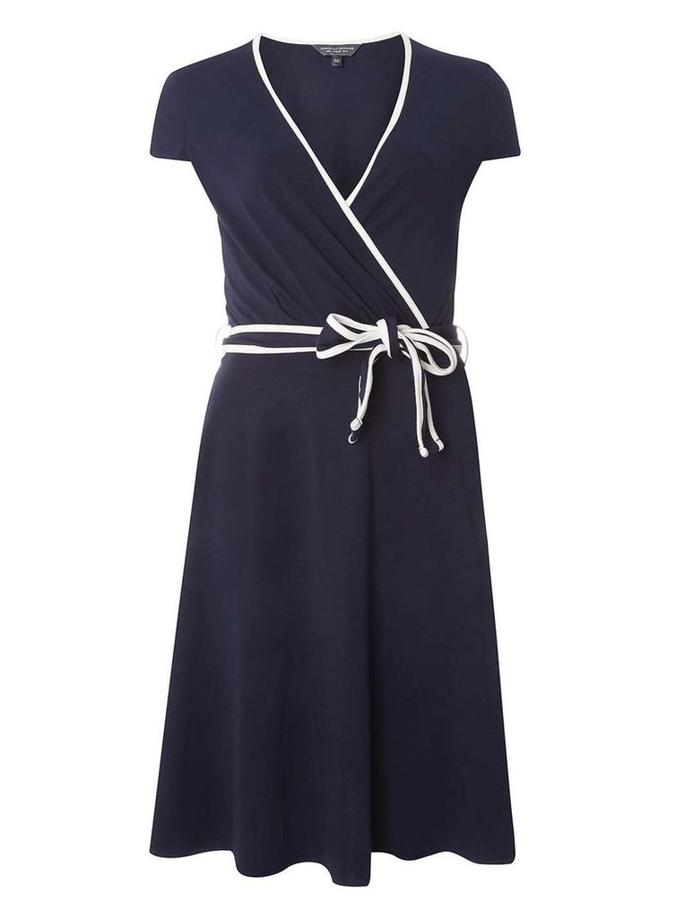 Womens Navy Tip Wrap Dress- Blue