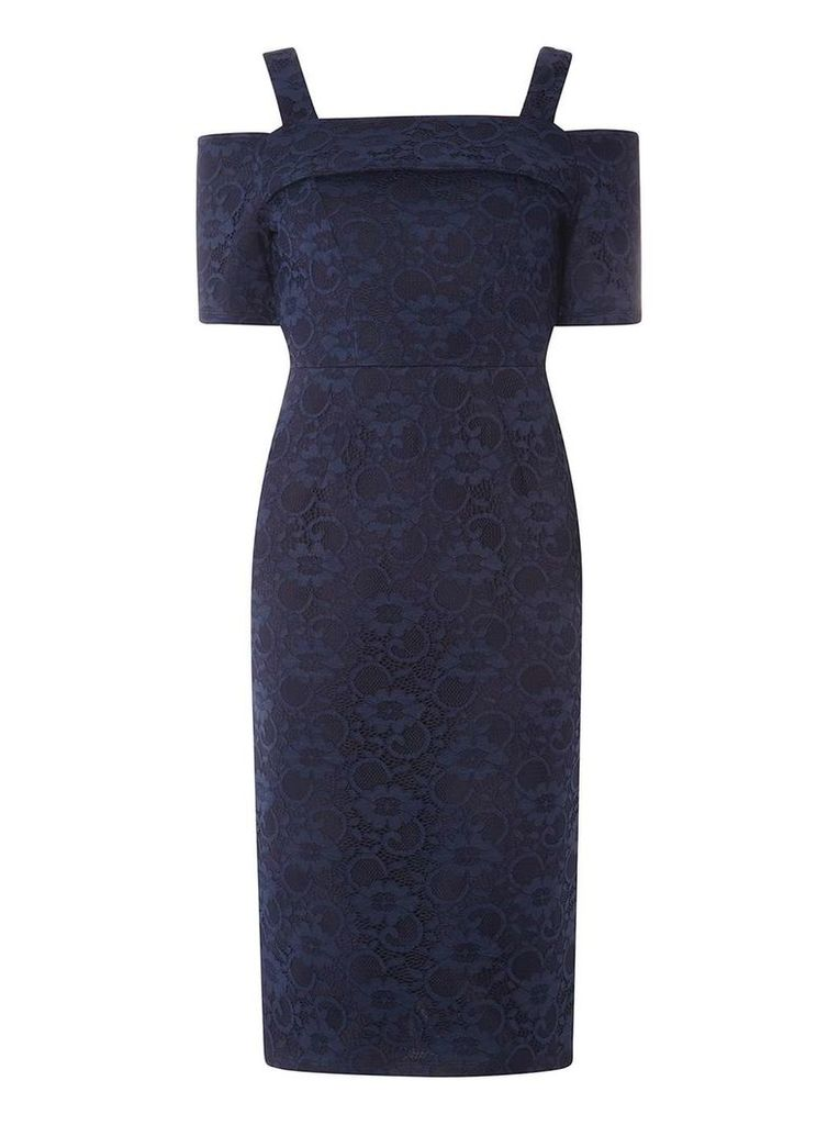 Womens Navy Lace Cold Shoulder Pencil Dress- Navy