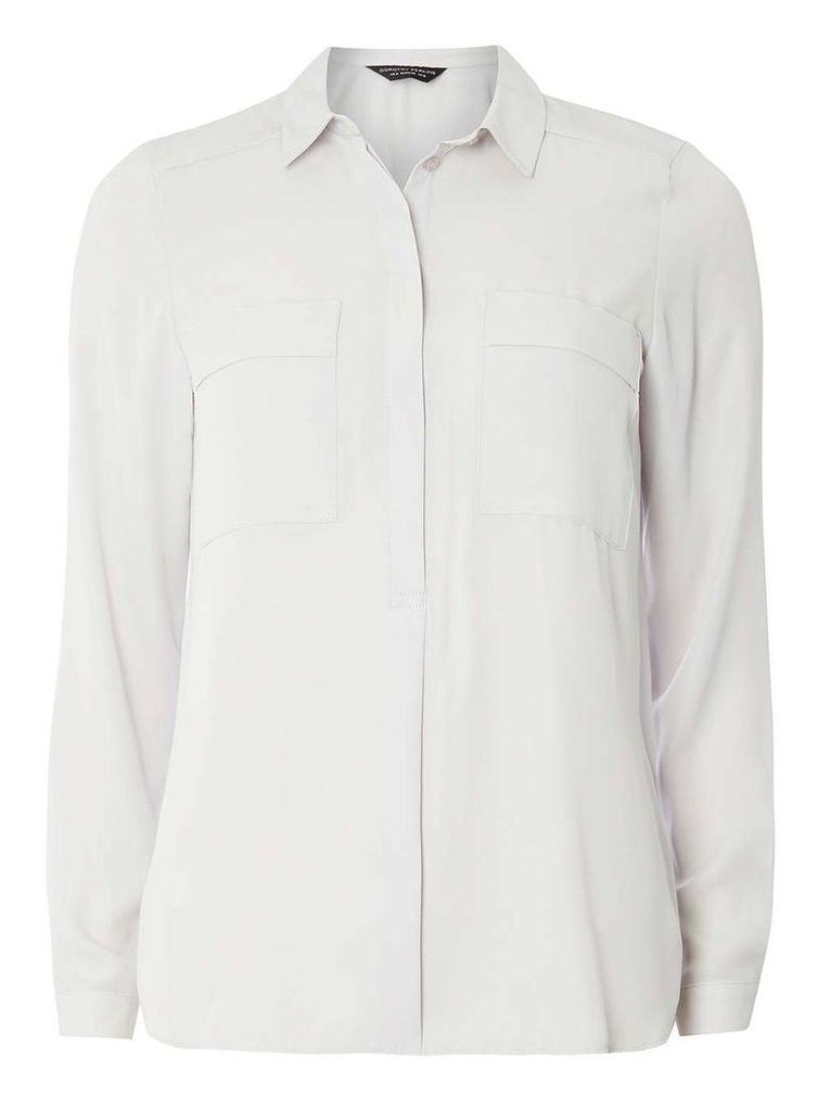 Womens Silver Two Pocket Shirt- Silver