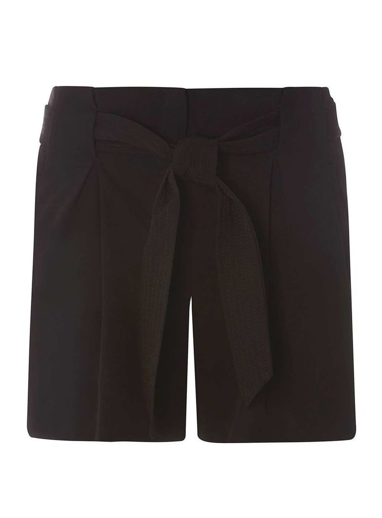Womens Black Tie Shorts- Black