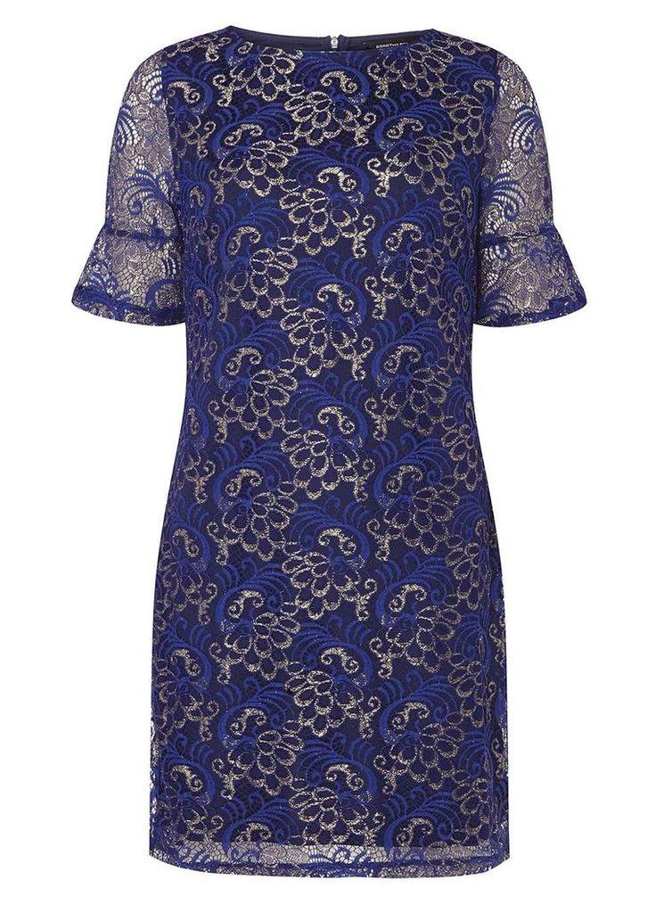 Womens Cobalt Shimmer Lace Shift Dress- Cobalt