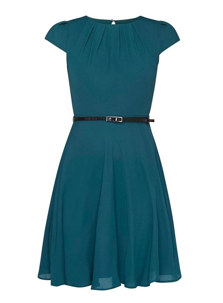 Womens **Billie & Blossom Petite Green Belted Skater Dress- Green
