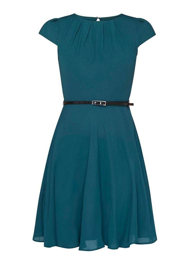 Womens **Billie & Blossom Petite Green Belted Skater Dress- Green