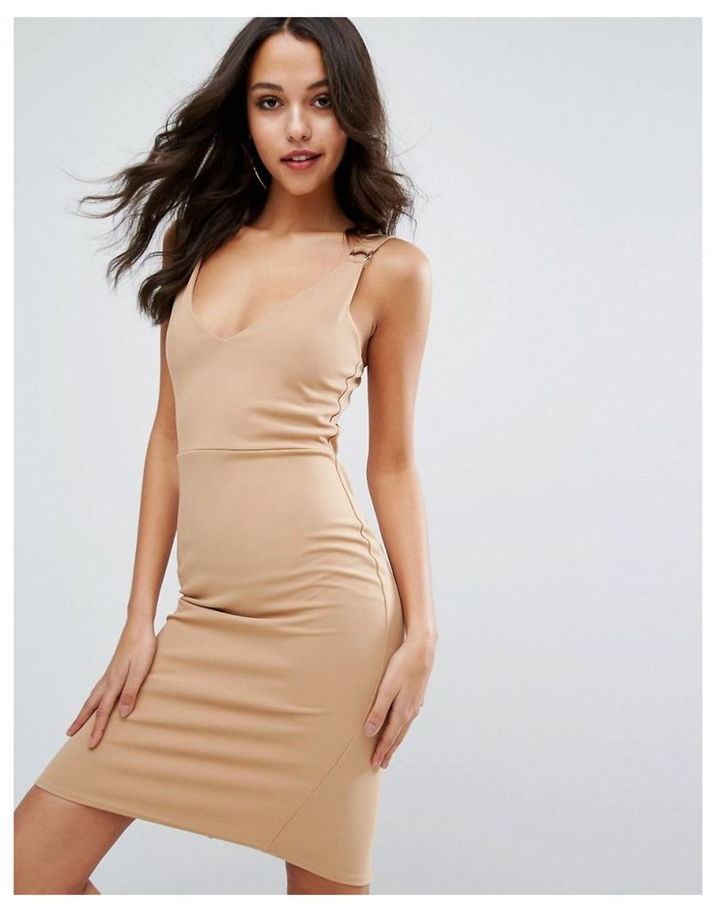 Missguided Buckle Detail Dress - Camel