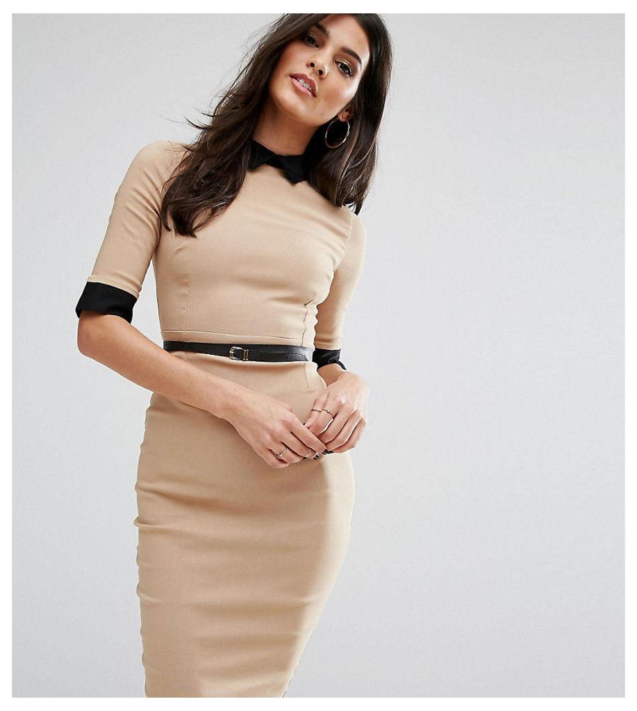 Vesper Contrast Collar Midi Pencil Dress - Camel/black