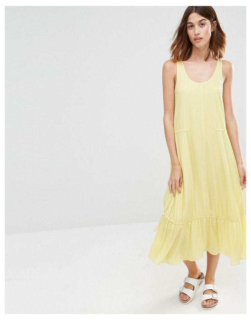 Warehouse Tiered Midi Dress - Yellow