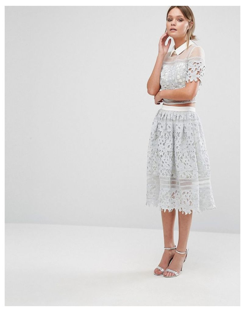 Chi Chi London Premium Lace Skirt Co-ord - Grey