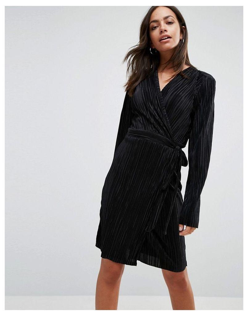 Liquorish Wrap Front Long Sleeve Pleated Dress - Black