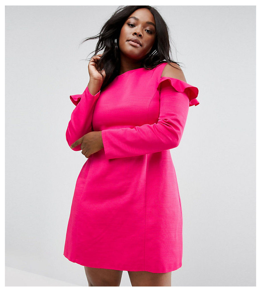 ASOS CURVE Cold Shoulder Structured Dress With Ruffle - Pink