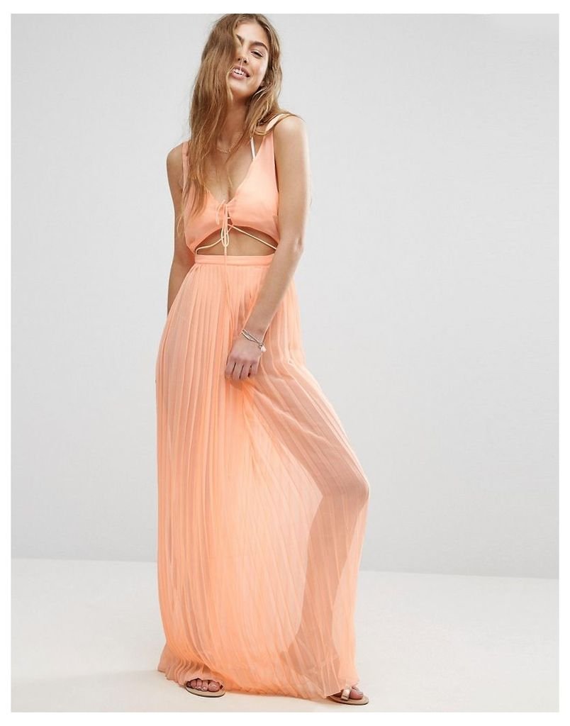 ASOS Pleated Beach Maxi Dress with Strapping - Orange