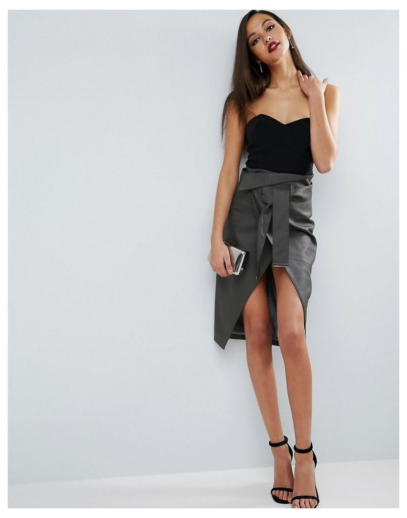 ASOS Pencil Skirt in Leather Look with Double Split and Self Belt - Grey