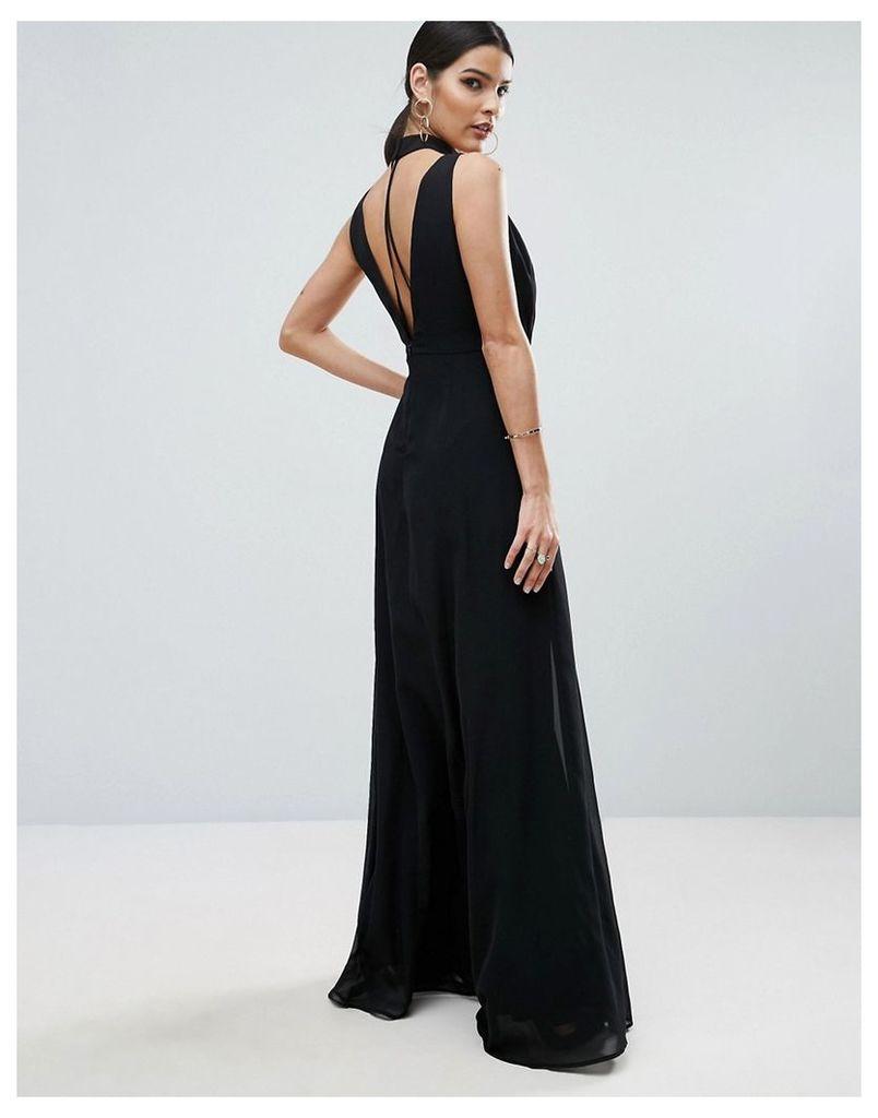 ASOS Halter Floating Neck Strap Back Maxi Dress - Black