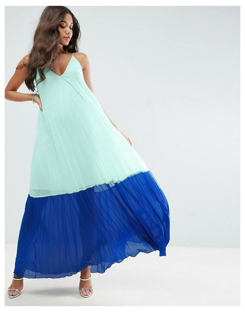 ASOS Colourblock Pleated Cami Maxi Dress - Multi
