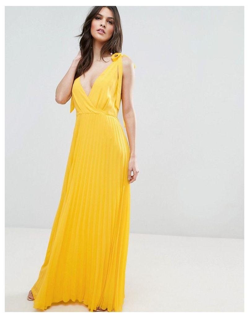 ASOS Cami Strap Tie Pleated Maxi Dress - Yellow
